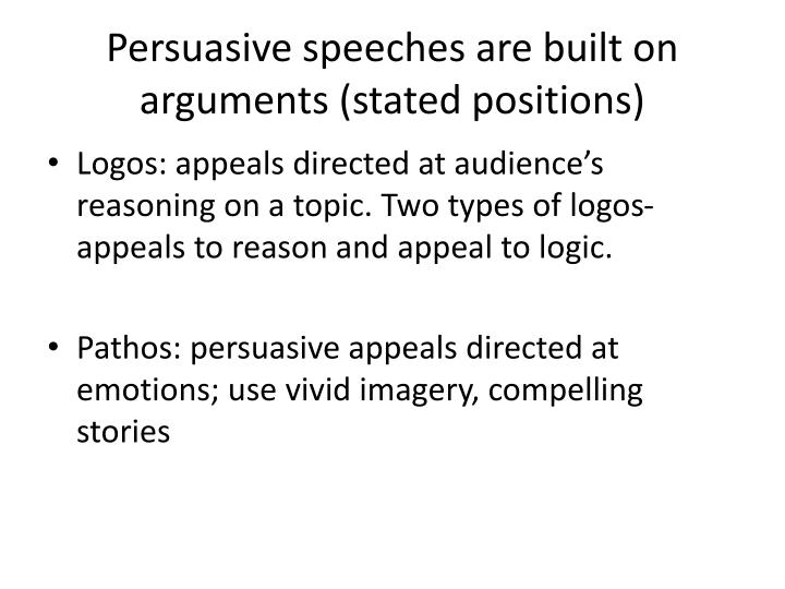 Persuasive speeches are built on arguments stated positions