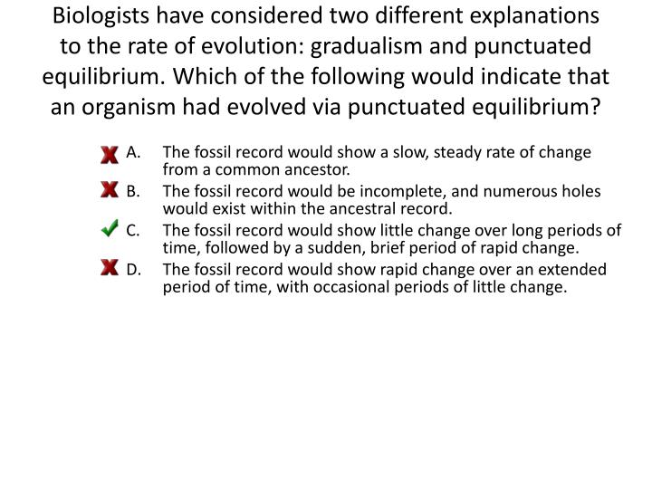 Biologists have considered two different explanations to the rate of evolution: gradualism and punctuated equilibrium. Which of the following would indicate that an organism had evolved via punctuated equilibrium?