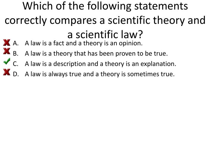Which of the following statements correctly compares a scientific theory and a scientific law?