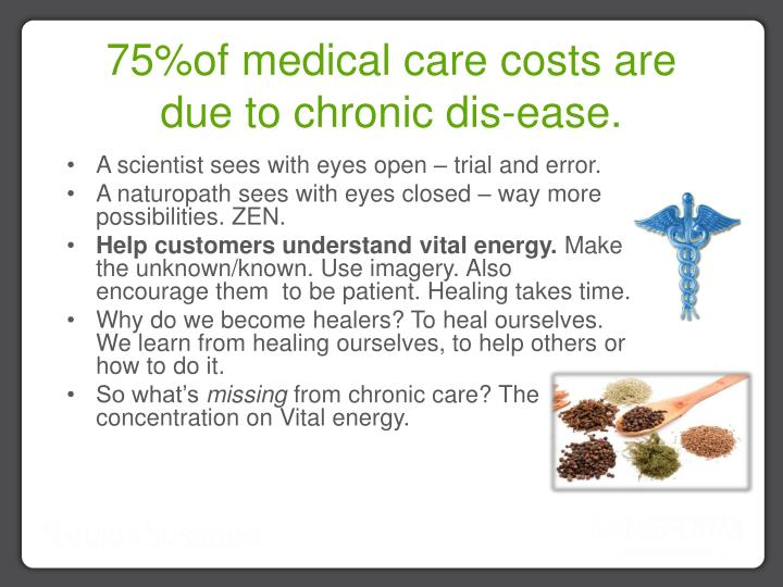 75%of medical care costs are due to chronic dis-ease.