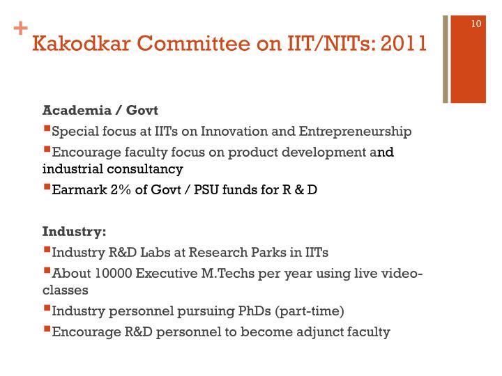 Kakodkar Committee on IIT/NITs: 2011