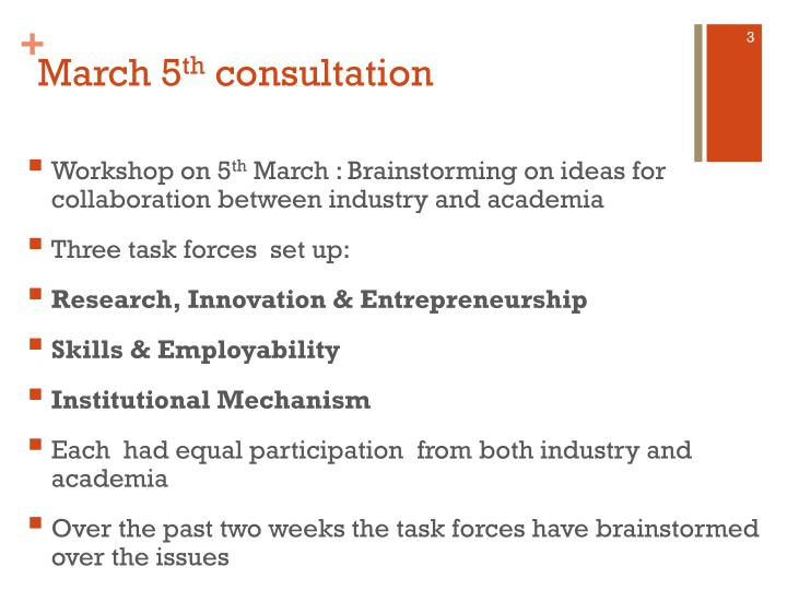 March 5 th consultation