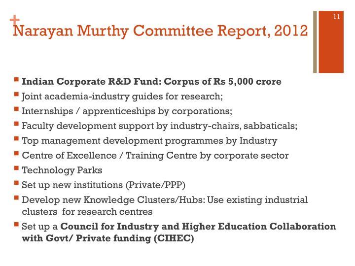 Narayan Murthy Committee Report, 2012