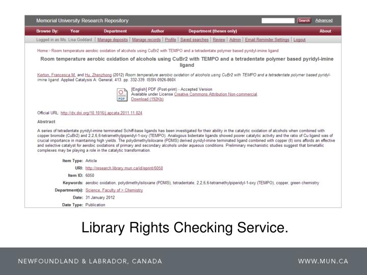 Library Rights Checking Service.