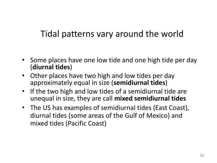 Tidal patterns vary around the world