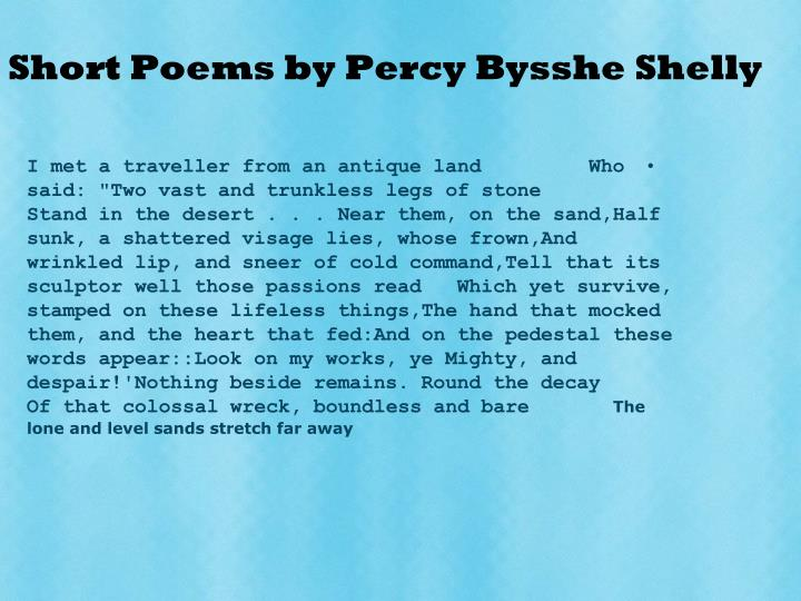 Short Poems by Percy Bysshe Shelly