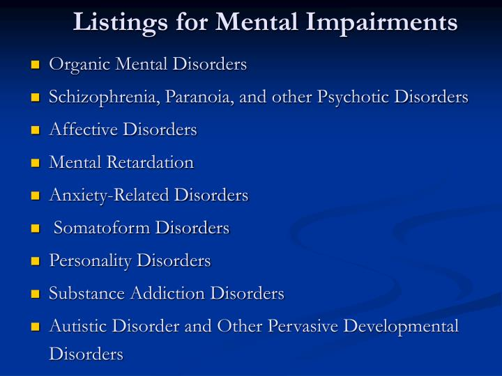 Listings for Mental Impairments