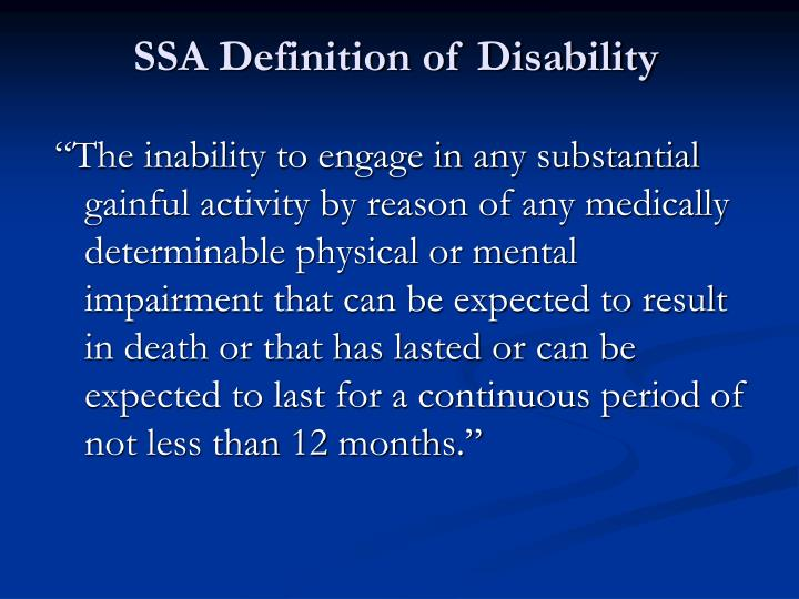 SSA Definition of Disability