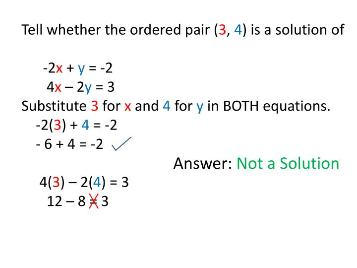 Tell whether the ordered pair (