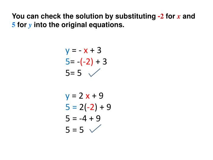 You can check the solution by substituting