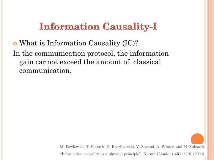 Information Causality-I
