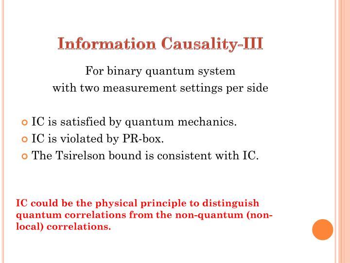 Information Causality-III