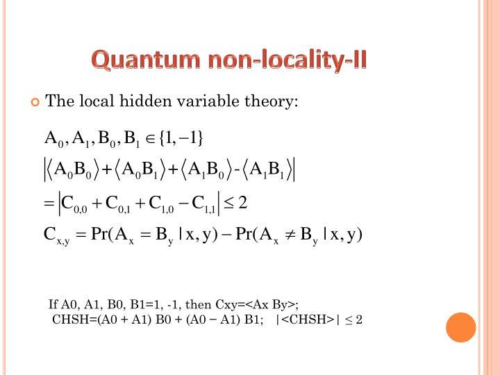 Quantum non-locality-II