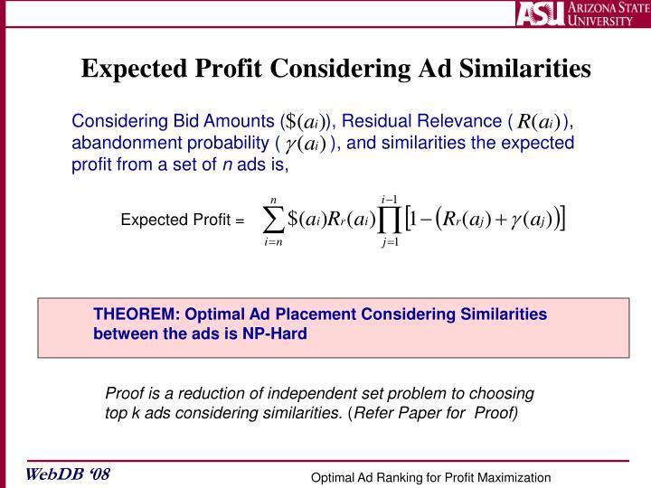 Expected Profit Considering Ad Similarities