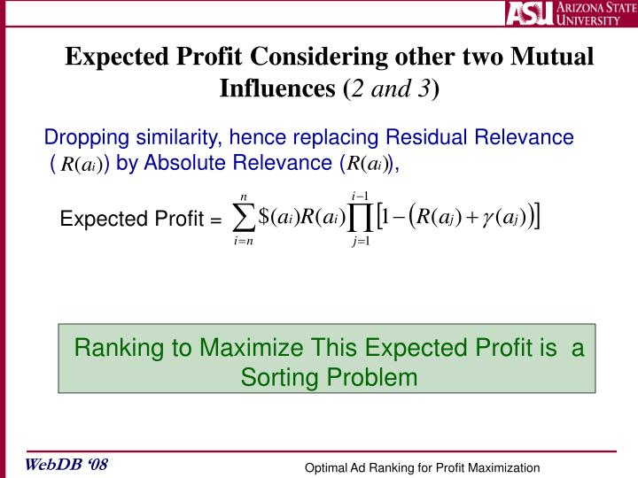 Expected Profit Considering other two Mutual Influences (