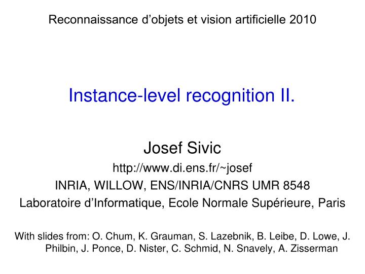 instance level recognition ii n.