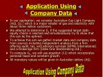 application using company data