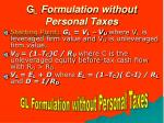 g l formulation without personal taxes