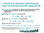 result of g l derivation with personal taxes and constant growth appendix b