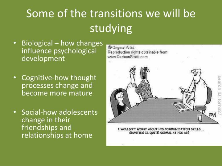 Some of the transitions we will be studying