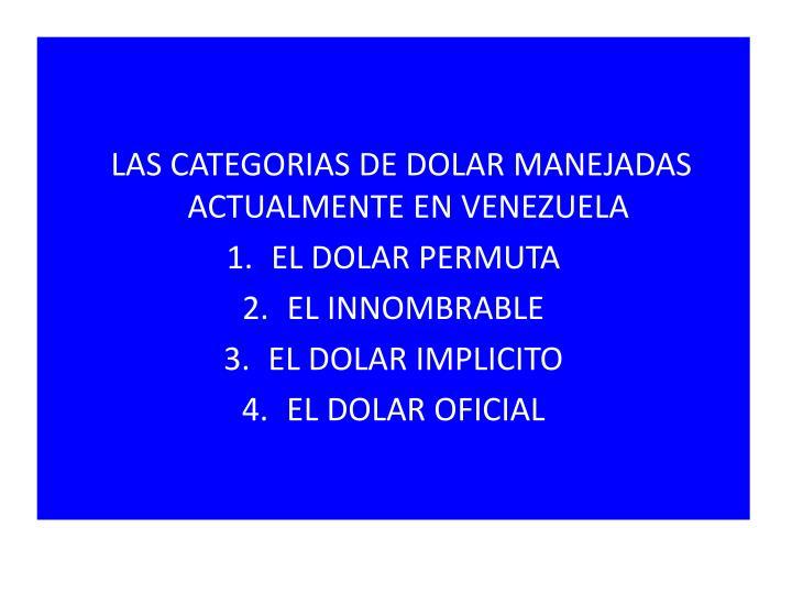 LAS CATEGORIAS DE DOLAR MANEJADAS ACTUALMENTE EN VENEZUELA