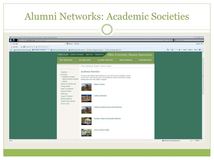 Alumni Networks: Academic Societies