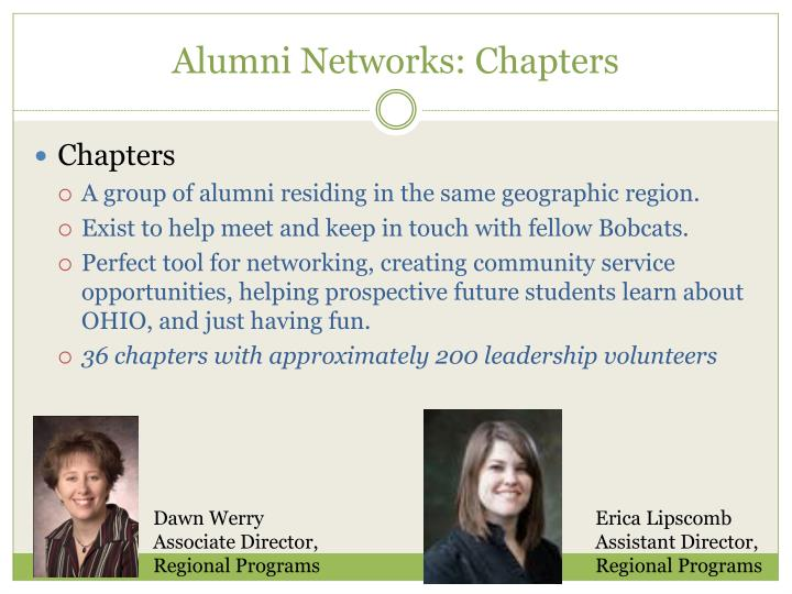 Alumni Networks: Chapters