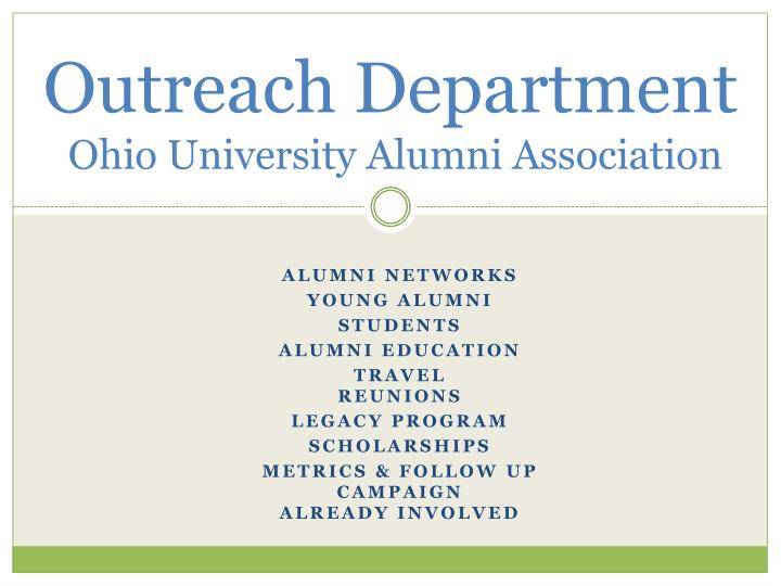 Outreach department ohio university alumni association
