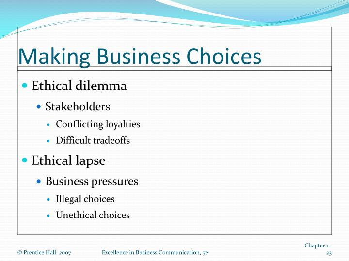 Making Business Choices