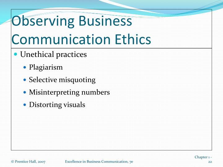 Observing Business Communication Ethics