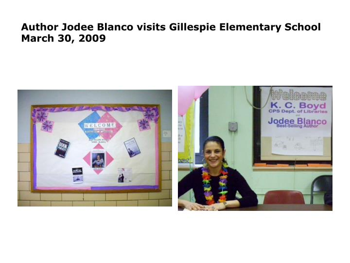 Author jodee blanco visits gillespie elementary school march 30 20091