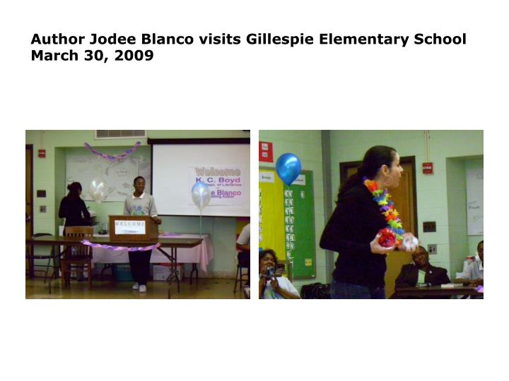 Author jodee blanco visits gillespie elementary school march 30 20092