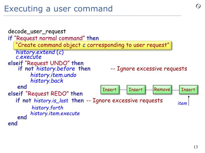 Executing a user command