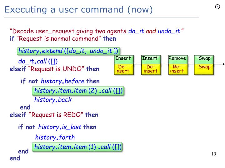 Executing a user command (now)