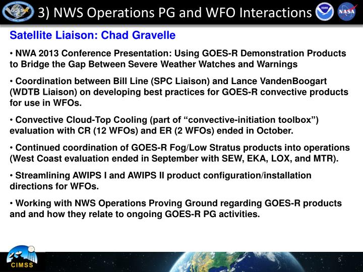 3) NWS Operations PG and WFO Interactions