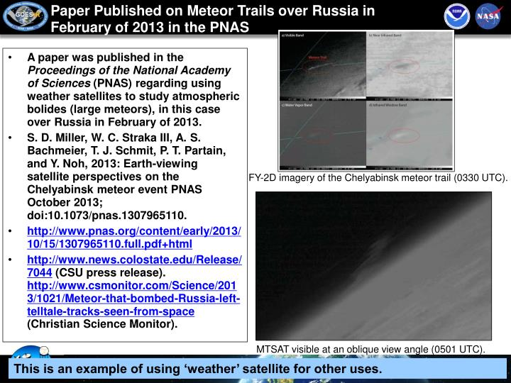 Paper Published on Meteor Trails over Russia in February of