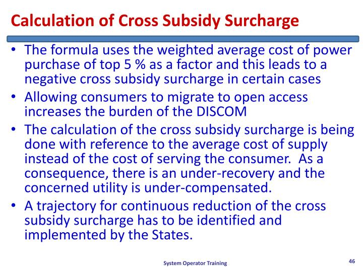 Calculation of Cross Subsidy Surcharge