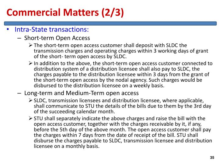 Commercial Matters (2/3)