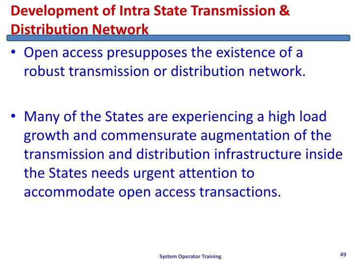 Development of Intra State Transmission & Distribution Network