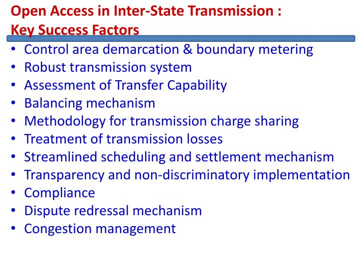 Open Access in Inter-State Transmission :