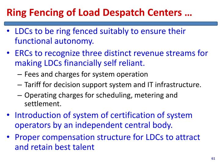 Ring Fencing of Load Despatch Centers …