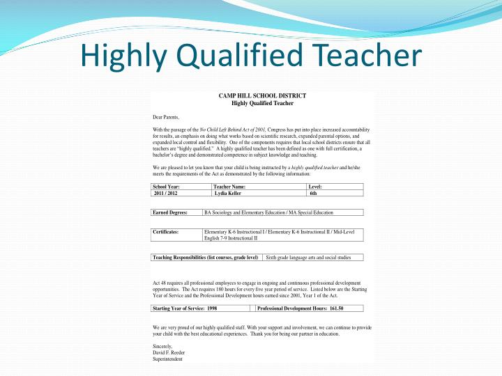 Highly Qualified Teacher