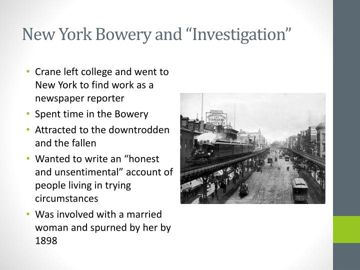 """New York Bowery and """"Investigation"""""""