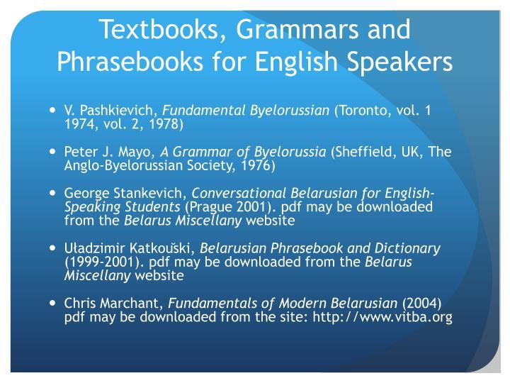 Textbooks, Grammars and Phrasebooks for English Speakers