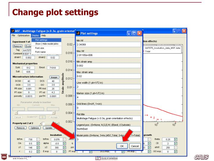 Change plot settings