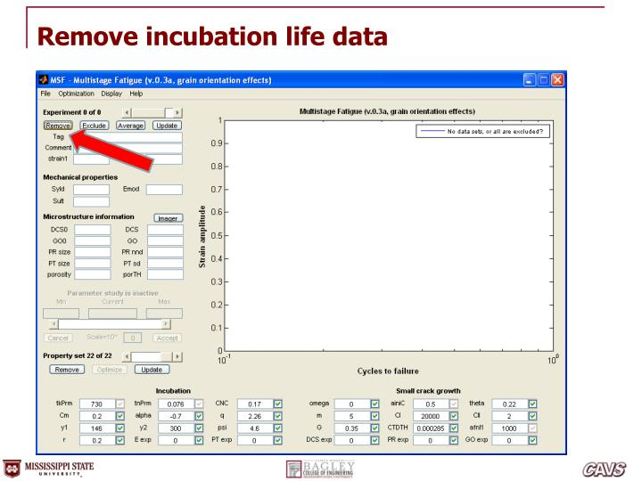 Remove incubation life data