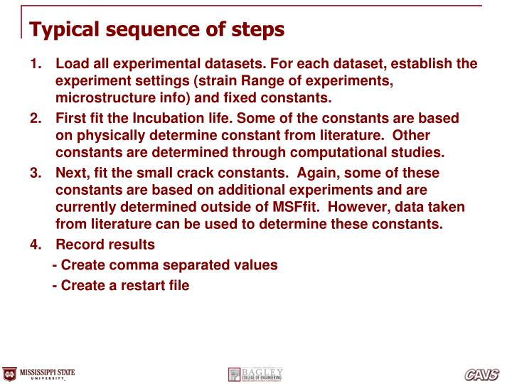Typical sequence of steps