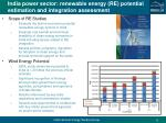 india p ower sector renewable energy re potential estimation and integration assessment