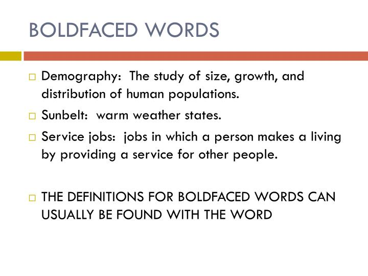 BOLDFACED WORDS