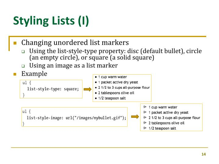 Styling Lists (I)